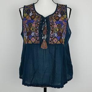 Free People cotton top shirt blouse Large